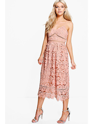 BOOHOO Boutique Dia Corded Lace Midi Skater Dress