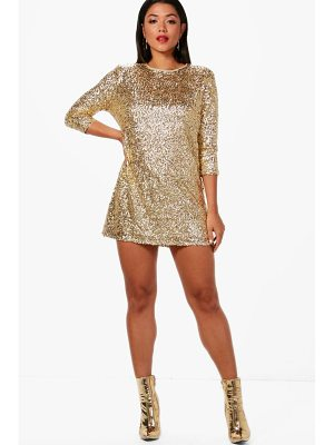 Boohoo Boutique Ellie Sequin Long Sleeve Shift Dress