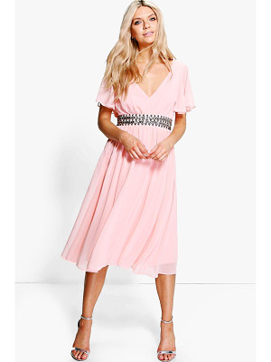BOOHOO Boutique Emi Embellished Waist Midi Dress