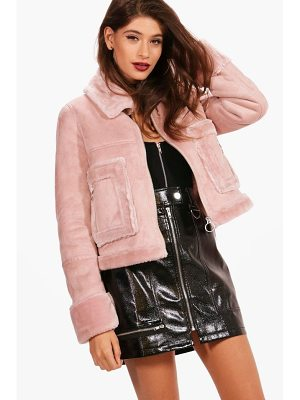 BOOHOO Boutique Emma Faux Fur Pocket Aviator Jacket
