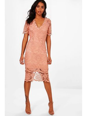 Boohoo Boutique Lace Cap Sleeve Midi Dress