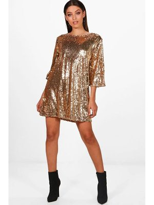 BOOHOO Boutique Emma Sequin Wide Pleat Shift Dress