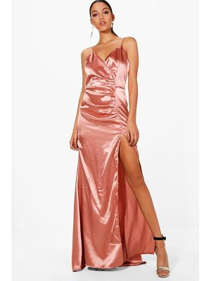 BOOHOO Boutique Eve Satin Ruched Maxi Dress