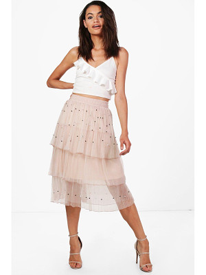 Boohoo Boutique Farah Beaded Layered Tulle Skirt