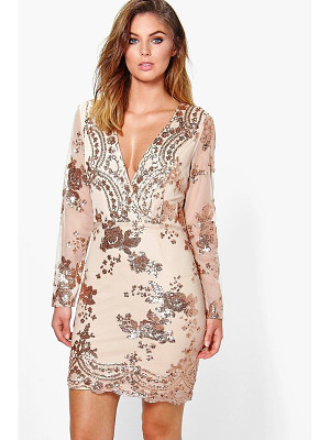 Boohoo Boutique Sequin Print Mesh Bodycon Dress