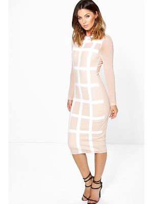 BOOHOO Boutique Gia Grid Mesh Bodycon Midi Dress