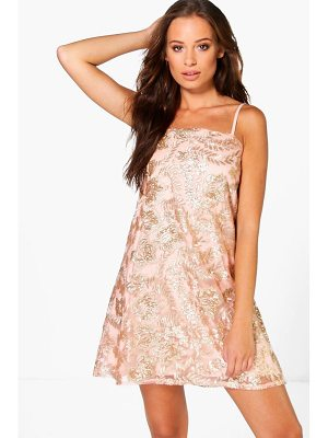 Boohoo Boutique Janey Sequin Embroidered Shift Dress