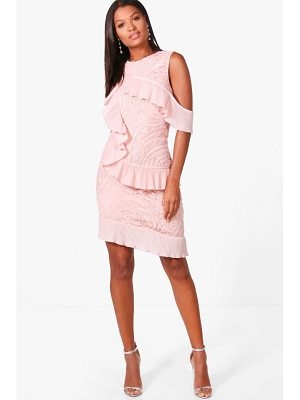 Boohoo Boutique Cold Shoulder Frill Dress
