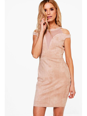 Boohoo Boutique Keira Suedette Mesh Bodycon Dress