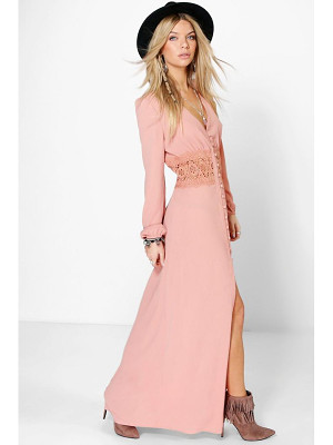 Boohoo Lace Waist Button Maxi Dress