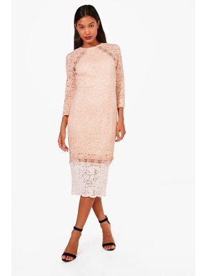 BOOHOO Boutique Kiki Contrast Lace Midi Dress