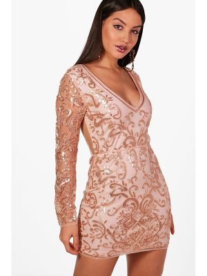 BOOHOO Boutique Laura Embellished Bodycon Dress