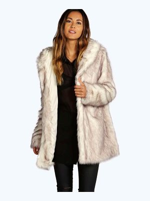 BOOHOO Lois Boutique Hooded Faux Fur Coat