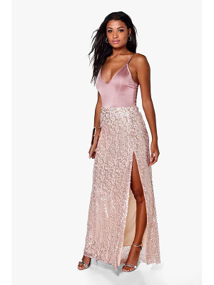 BOOHOO Boutique Lola Thigh Split Sequin Maxi Skirt
