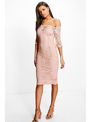 Boohoo Boutique Crochet Off Shoulder Midi Dress