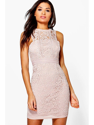 Boohoo Boutique Mia Lace Racer Neck Bodycon Dress