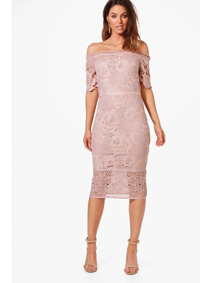 BOOHOO Boutique Nikka Off Shoulder Lace Midi Dress