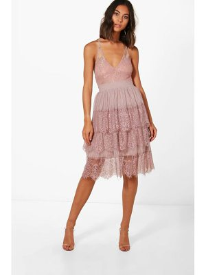 Boohoo Boutique Eyelash Lace Layered Tulle Skirt