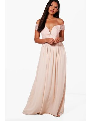Boohoo Boutique Lace Off The Shoulder Maxi Dress