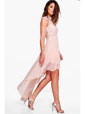 Boohoo Boutique Lace Top Chiffon Dip Hem Dress