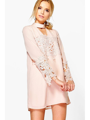 Boohoo Choker Lace Flute Sleeve Shift Dress
