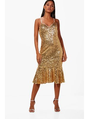 BOOHOO Boutique Sophie Sequin Frill Hem Midi Dress