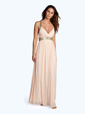BOOHOO Boutique Soraya Sequin Panel Mesh Maxi Dress