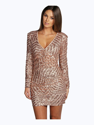 BOOHOO Boutique Sue Sequin Panelled Bodycon Dress