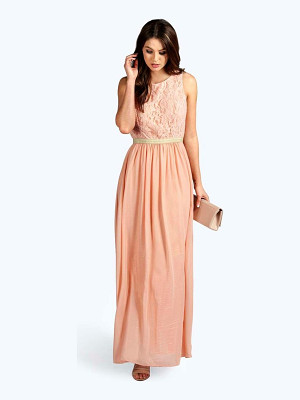 BOOHOO Boutique Zaynah Metallic Lace Detail Chiffon Maxi Dress