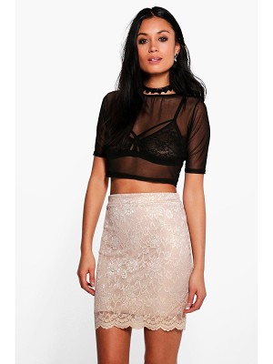 Boohoo Callie Scalloped Lace Metallic Mini Skirt