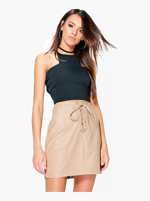 Boohoo Camille Lace Up Panelled Leather Look Mini Skirt