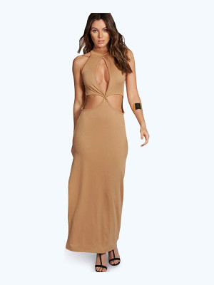 BOOHOO Candice High Neck Cutout Maxi Dress