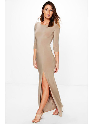 BOOHOO Candice Side Split Slinky Maxi Dress