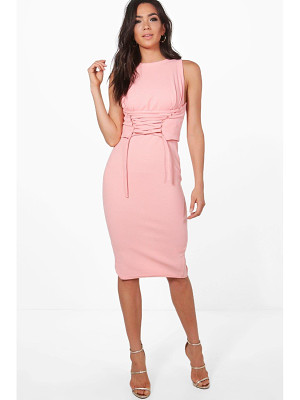 BOOHOO Cara Corset Lace Peplum Midi Dress