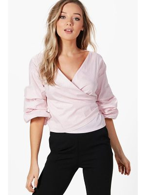 Boohoo Ruffle Sleeve Stripe Wrap Shirt