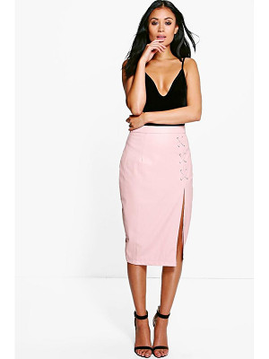 BOOHOO Carmel Lace Up Split Leather Look Midi Skirt
