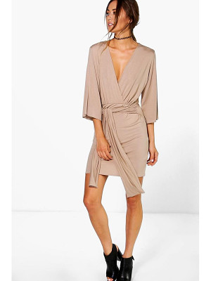 BOOHOO Carmel Wrap Front Plunge Neck Dress