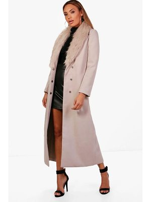 BOOHOO Caroline Maxi Faux Fur Collar Wool Look Coat