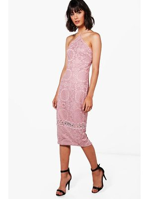 BOOHOO Cassie All Over Lace Strappy Midi Dress