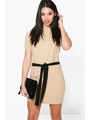 BOOHOO Cassie Tie Waist Woven Shift Dress