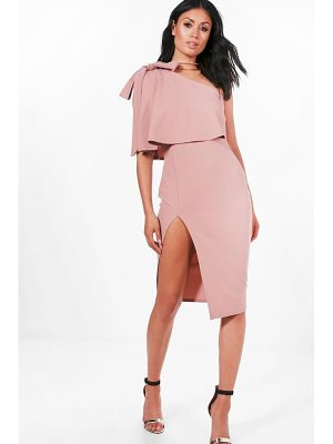 Boohoo Bow Shoulder Detail Midi Dress