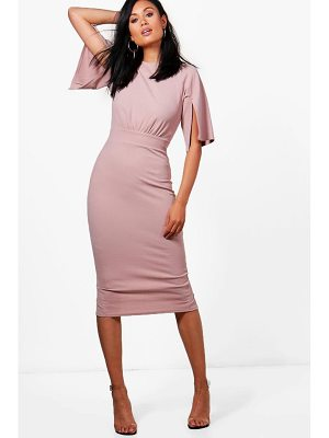 BOOHOO Cesca Split Sleeve Detail Wiggle Midi Dress