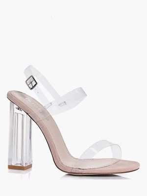BOOHOO Charlotte Clear Block Two Part Heels