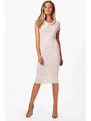 BOOHOO Charlotte Cowl Neck Midi Dress