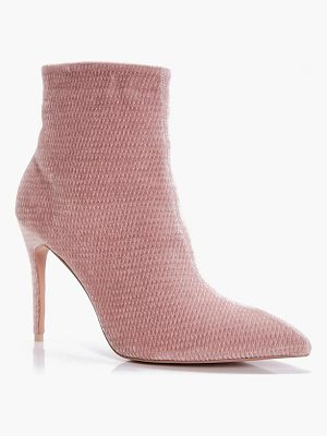 BOOHOO Charlotte Pointed Mid Heel Ankle Boots