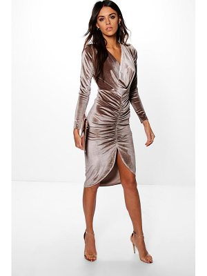 Boohoo Cowl Neck Velvet Draped Midi Dress