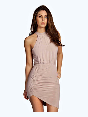 Boohoo Slinky High Neck Bodycon Dress