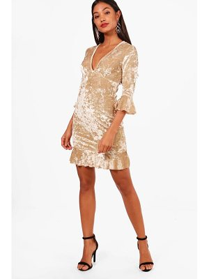 Boohoo Velvet Frill Detail Tea Dress