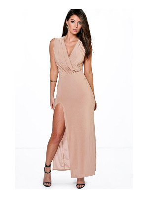 Boohoo Cindy Draped Plunge Thigh Slit Maxi Dress