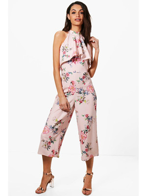 Boohoo Claire Floral High Neck Culotte Jumpsuit
